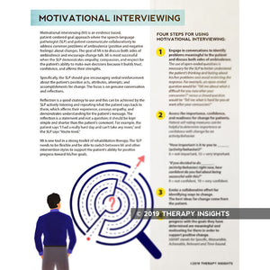 Motivational interviewing - speech, OT, PT therapy rehabilitation materials for adults - Therapy Insights - Therapy Fix