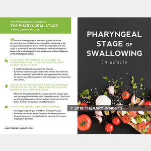 Pharyngeal stage of the swallow. Speech therapy materials for adults. Therapy Fix. Therapy Insights.