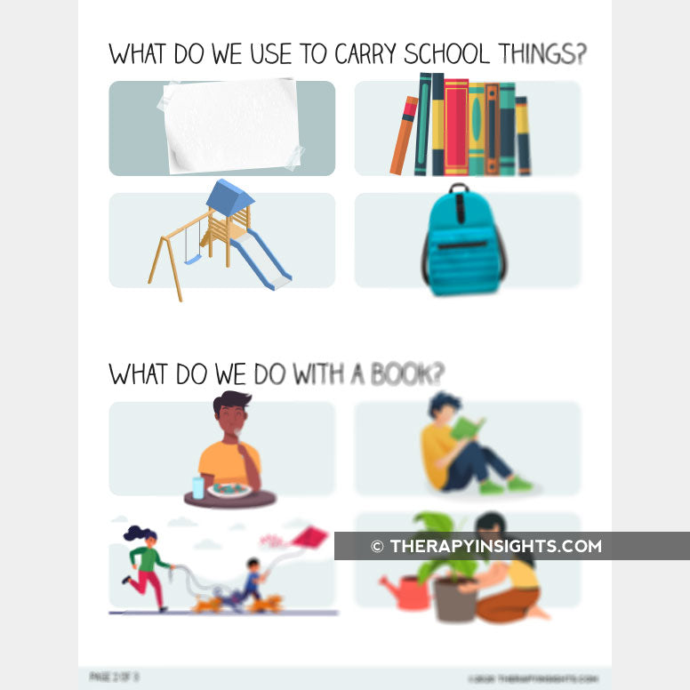 Back to School Themed Functions of Objects Activity