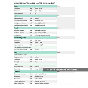 Quick pediatric oral motor assessment - Pediatric speech-language pathology - Pediatric SLP - Therapy Insights - Therapy Fix