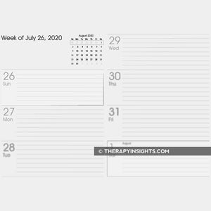 Weekly calendars for people with memory impairments.