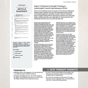Article snapshots- summaries of the latest research for busy speech language pathologists.