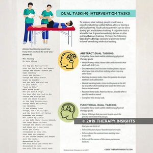 Dual tasking activities for physical therapists. Therapy Insights. Therapy Fix.