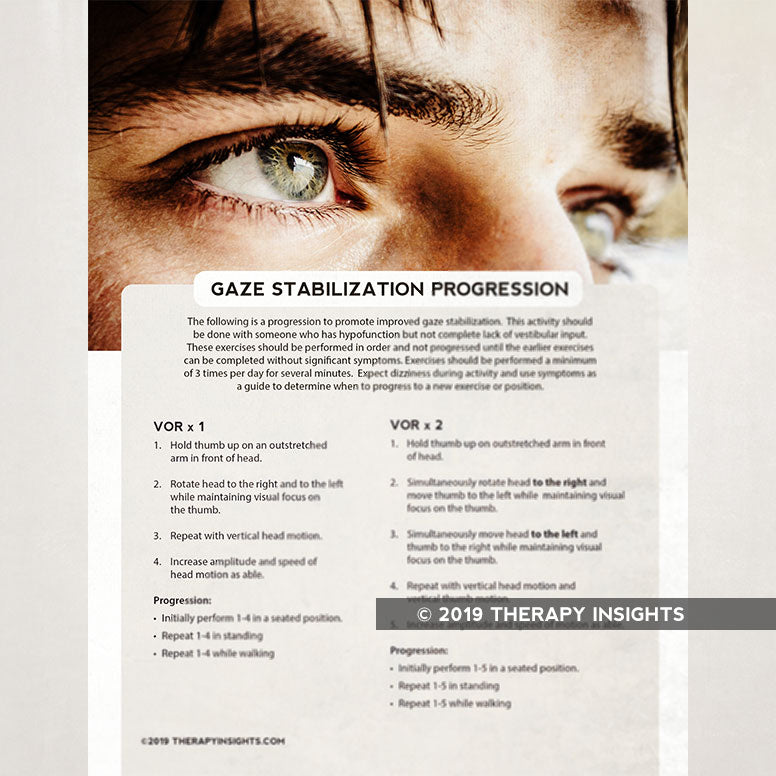 Load image into Gallery viewer, Gaze stablization progression for physical therapy. Physical therapy handout for patients. Health literacy for physical therapy. Therapy Fix. Therapy Insights.