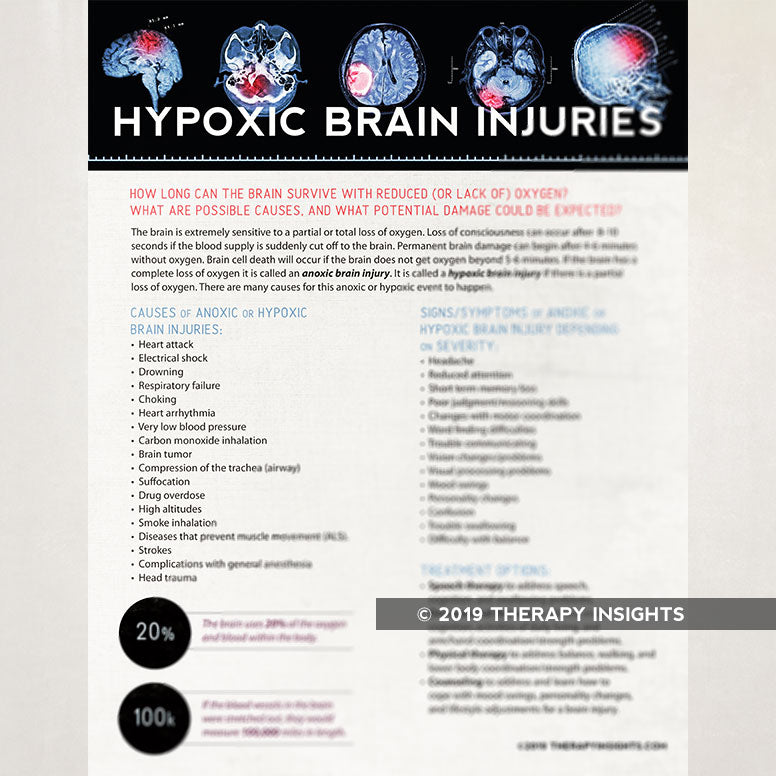 Hypoxic brain injuries. Speech-language pathology handout for patients, family, and caregivers. Speech therapy materials for adults.