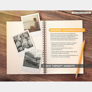 Memory scrapbooking for people with dementia. Occupational therapy materials for adults. Speech therapy materials for adults. Therapy Fix. Therapy Insights.