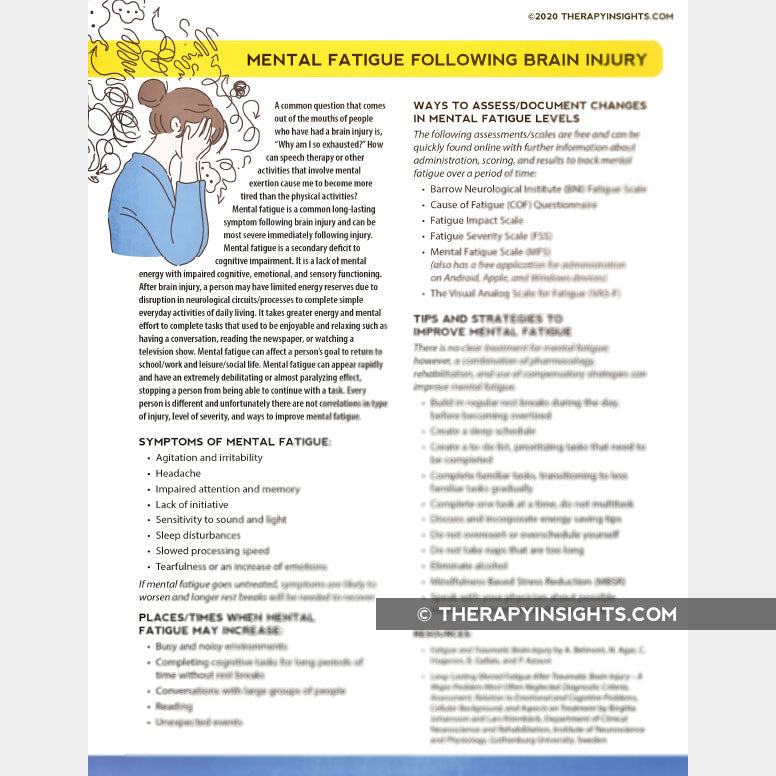 Mental Fatigue following Brain Injury