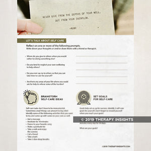 Self care worksheet - occupational therapy - OT activities - Therapy Insights - Therapy Fix