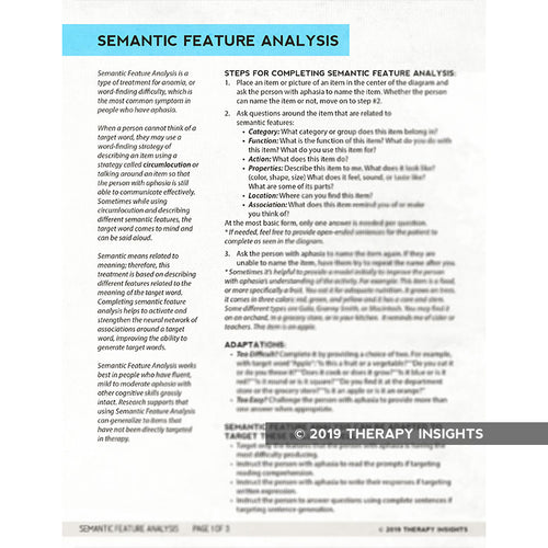 Semantic Feature Analysis - aphasia therapy - speech therapy materials for adults - Therapy Fix - Therapy Insights