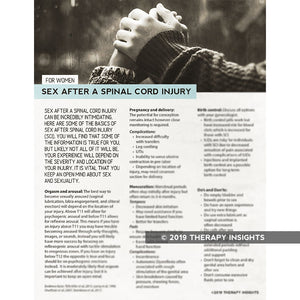 Sex after spinal cord injury for women - spinal cord injury rehabilitation - health literacy handouts for physical therapists - Therapy Insights - Therapy Fix