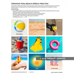 Summertime speech practice for beach and pool - Pediatric speech therapy materials - Therapy Insights - Therapy Fix