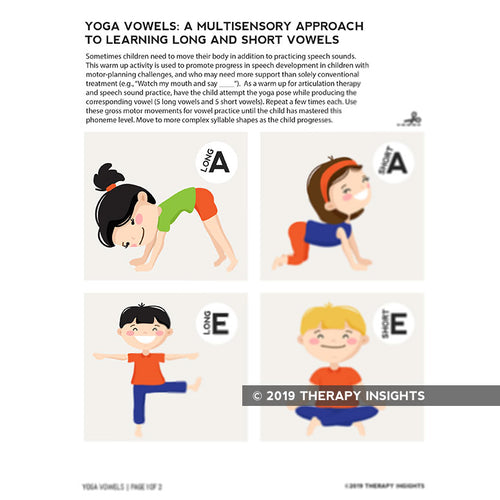 Yoga vowels- a multisensory approach to teaching long and short vowels - speech therapy materials for kids - Therapy Insights - Therapy Fix