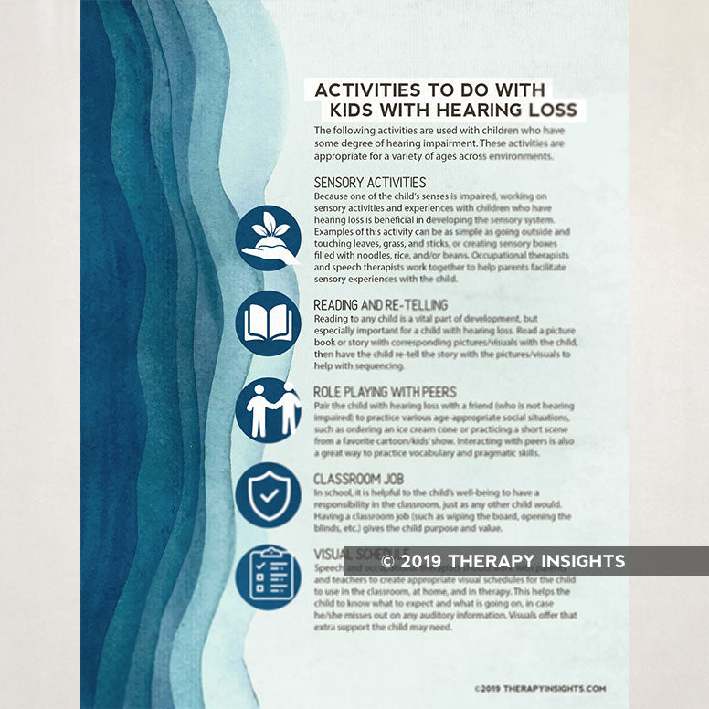 Ideas for activities to do with kids with hearing loss. Speech therapy handout for parents, caregivers, teachers, and therapists. Therapy Fix. Therapy Insights.