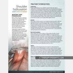 Shoulder Subluxation: Causes and Treatment Interventions