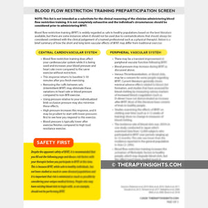 Blood Flow Restriction Training Preparticipation Screen