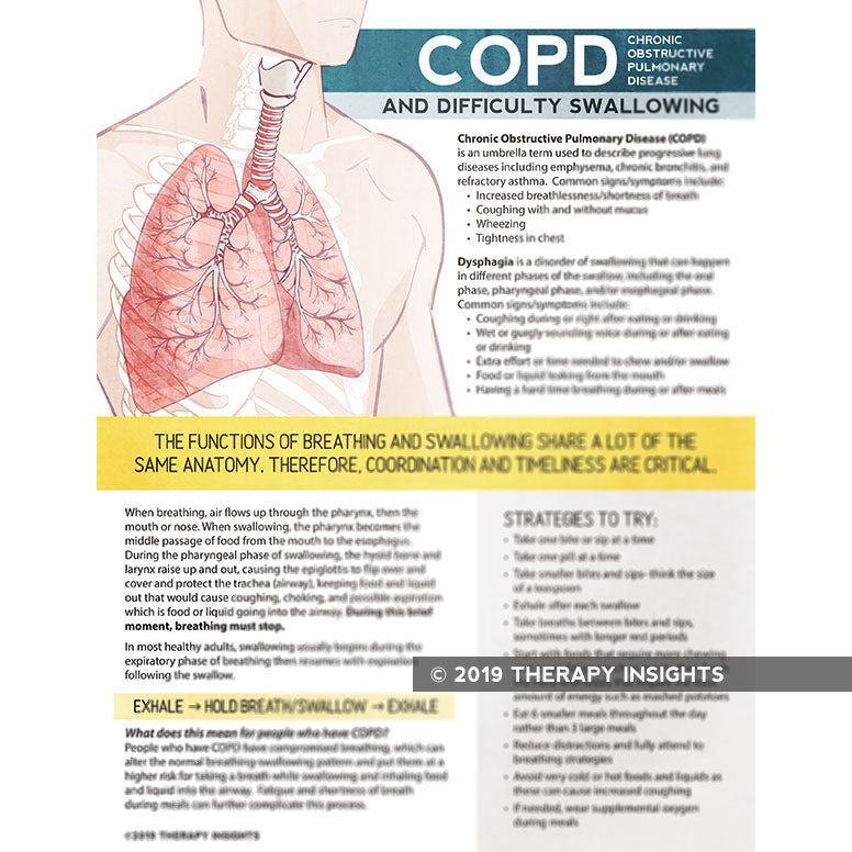 Load image into Gallery viewer, Chronic obstructive pulmonary disease (COPD) and difficulty swallowing - dysphagia - speech therapy materials for adults - adult rehabilitation materials - SNF materials - acute care handouts - Therapy Insights - Therapy Fix