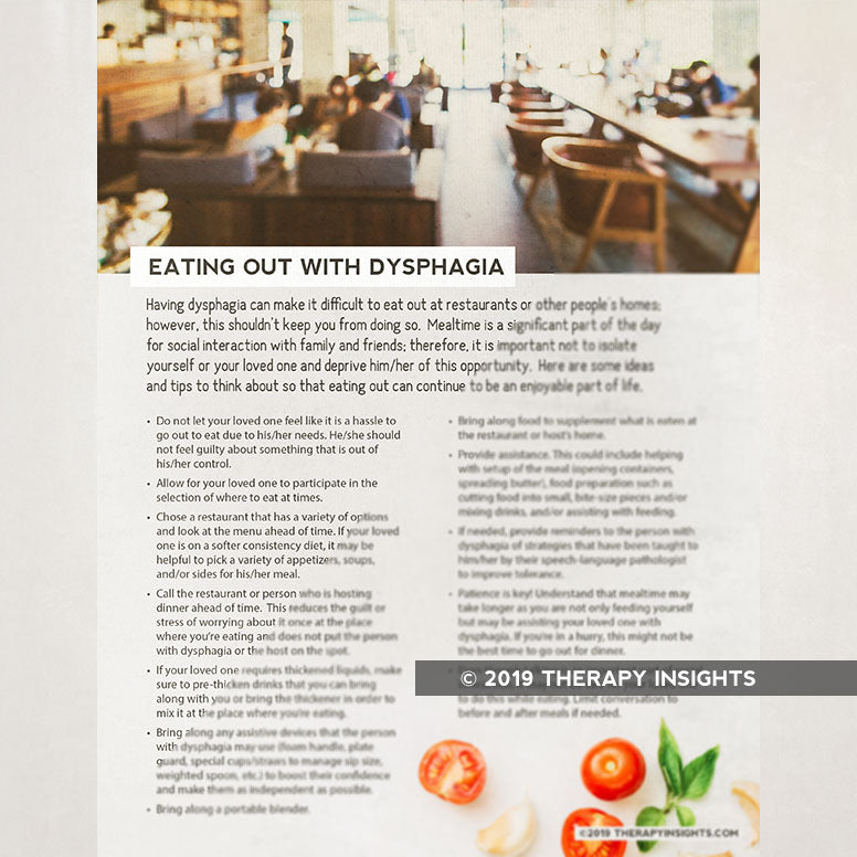 Handout: Eating out with dysphagia. Therapy Insights. Therapy Fix.