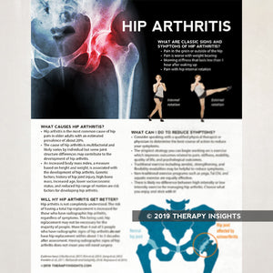 Load image into Gallery viewer, Hip arthritis. Health literacy handout for patients. Physical therapy. Therapy Insights. Therapy Fix.