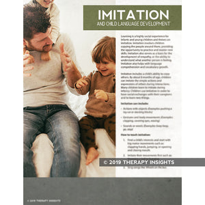 Imitation and child language development - pediatric SLP materials - speech therapy materials for kids - handouts for parents - Therapy Insights - Therapy Fix