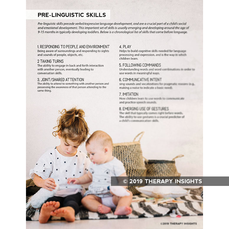 Pre-linguistic skills - speech therapy materials for kids - speech therapy handouts - pediatric speech therapy - handouts for parents and caregivers - Therapy Insights - Therapy Fix
