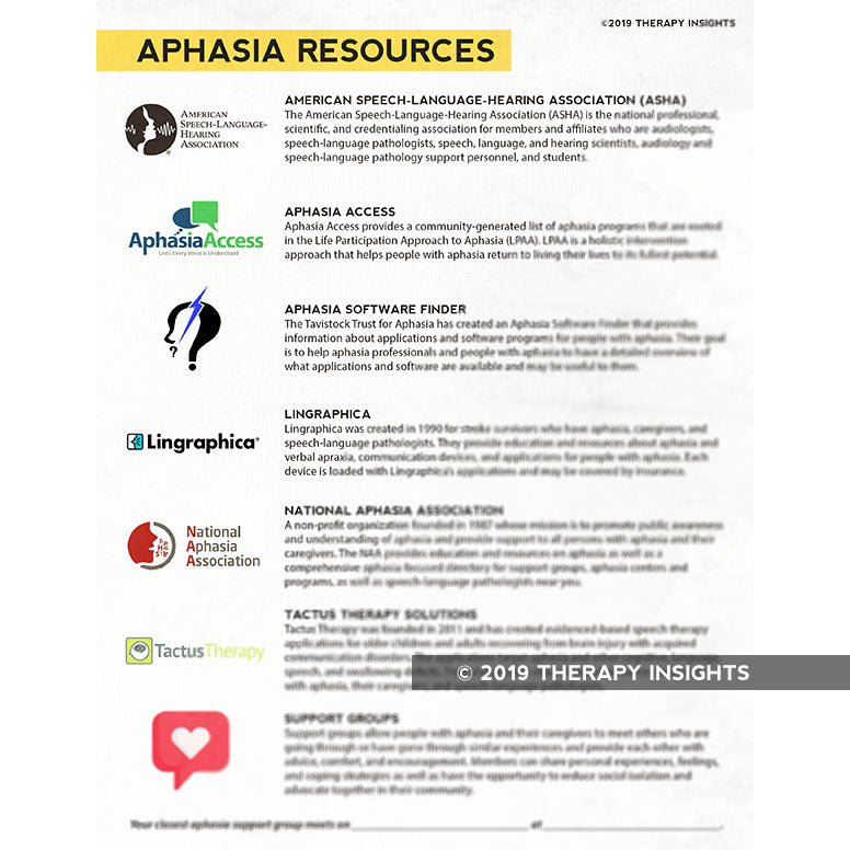 Aphasia Resources - aphasia therapy - speech therapy materials for adults - Therapy Fix - Therapy Insights