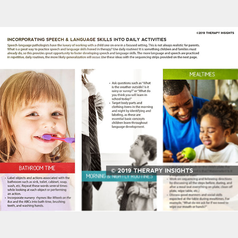 Incorporating speech and language skills into everyday activities - resources for parents - speech therapy materials for kids and their parents - Therapy Insights - Therapy Fix