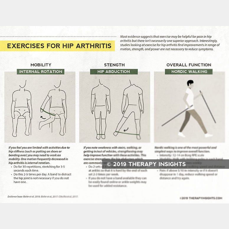 Load image into Gallery viewer, Exercises for hip arthritis. Physical therapy handout for patients. Health literacy. Therapy Insights. Therapy Fix.