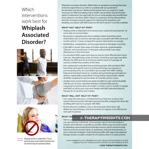 Which Interventions Work Best For Whiplash Associated Disorder?