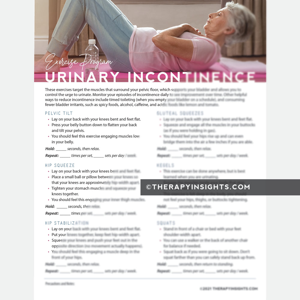 Urinary Incontinence Exercise Program