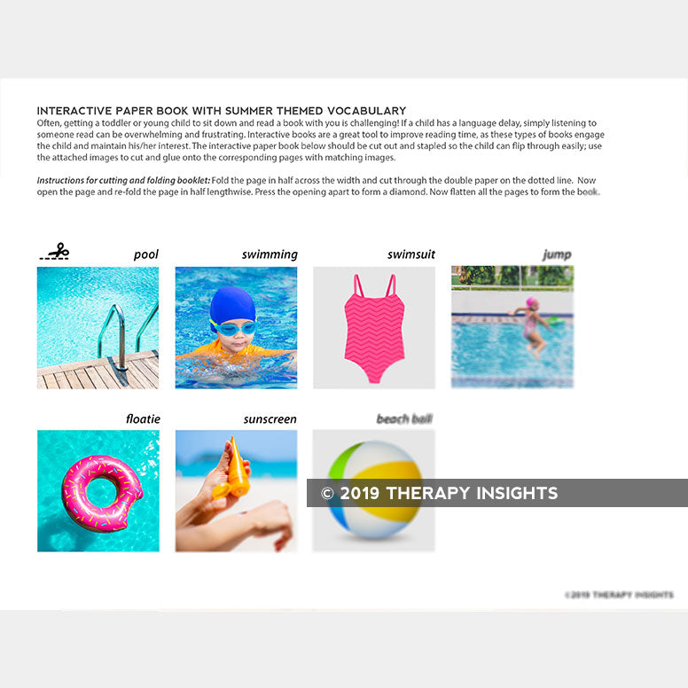 Interactive book - summertime pool and beach vocabulary - pediatric speech therapy materials - Therapy Insights - Therapy Fix