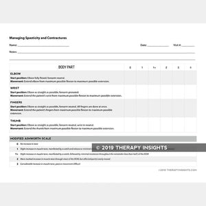 Resource for clinicians to assess spasticity and contractures. Designed for occupational therapists to track changes. Therapy Fix. Therapy Insights.