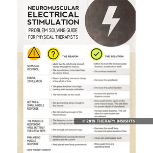 Neuromuscular electrical stimulation problem solving guide for physical therapists - physical therapy materials - PT materials - NMES - Therapy Insights - Therapy Fix