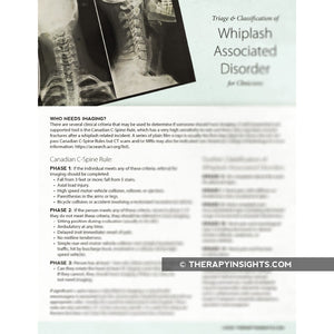 Triage and Classification of Whiplash Associated Disorder for Clinicians