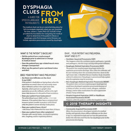 Dysphagia clues from H&Ps - dysphagia therapy - speech therapy materials for adults - Therapy Insights - Therapy Fix