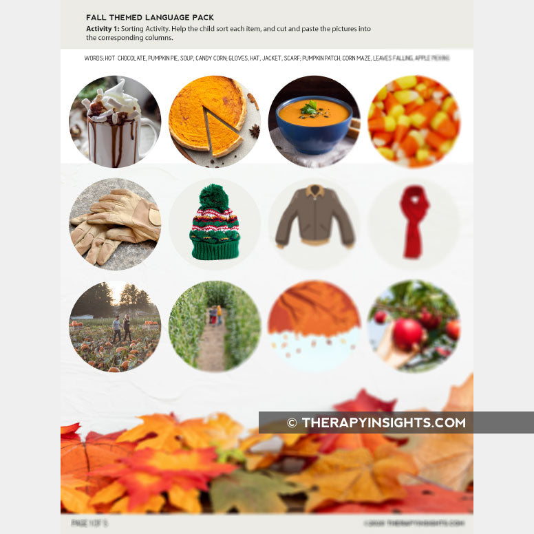 Fall Themed Language Pack (Vocabulary, Following Directions, and Sorting)