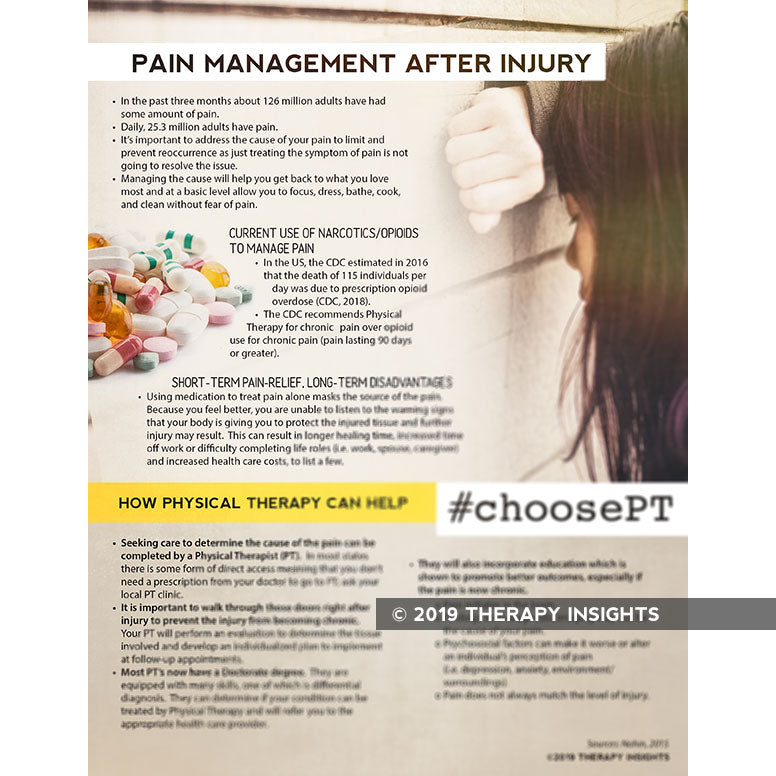 Load image into Gallery viewer, Pain management after injury - physical therapy and pain management - materials and resources for physical therapy - Therapy Insights - Therapy Fix