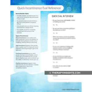 Questions to Ask About Incontinence (Quick Informal Eval Resource)