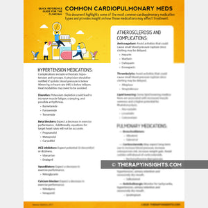Quick Reference: Common Cardiopulmonary Medications