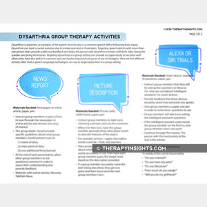 Dysarthria Group Therapy Activities