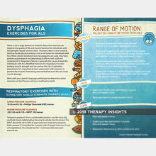 Dysphagia exercises for ALS. Speech therapy handout for adults. Health literacy handout for speech language pathologists.
