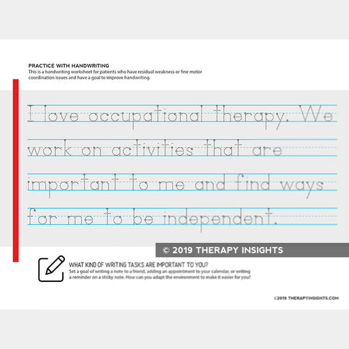 Handwriting activity for occupational therapy for adults. Therapy Fix. Therapy Insights.