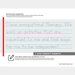 Handwriting exercise for adults in occupational therapy. Therapy Fix. Therapy Insights.