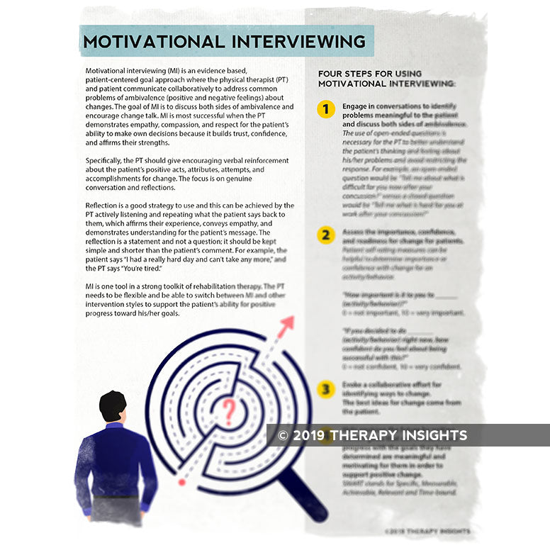 Motivational interviewing for physical therapists - materials and resources for physical therapy PT - Therapy Insights - Therapy Fix