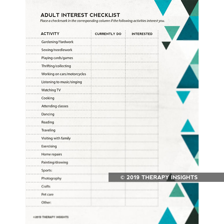 Interest checklist for occupational therapists - Therapy Insights - Therapy Fix
