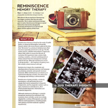 Reminiscence therapy - speech therapy to address cognitive-linguistic memory loss - speech therapy materials for adults - Therapy Insights - Therapy Fix