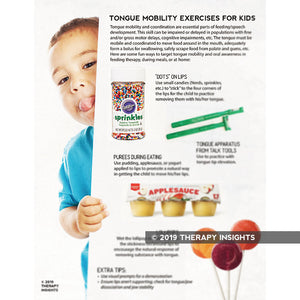 Tongue mobility exercises for kids - Pediatric speech pathology materials - speech therapy materials for kids - feeding therapy - pediatric dysphagia therapy - Therapy Insights - Therapy Fix