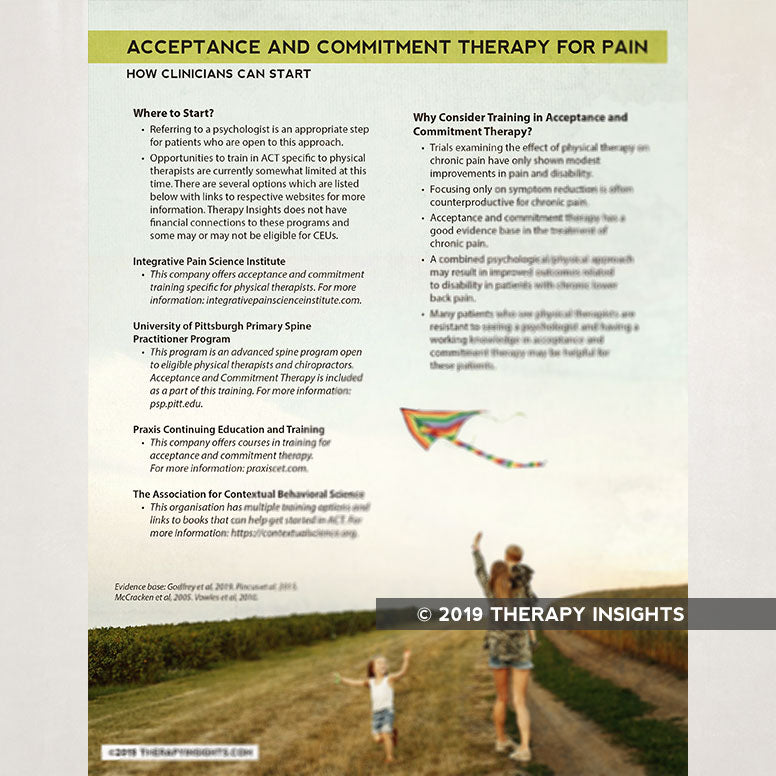 Acceptance and commitment therapy. Pain management. Physical therapy. Health literacy. Physical therapy handouts for patients. Therapy Insights. Therapy Fix.