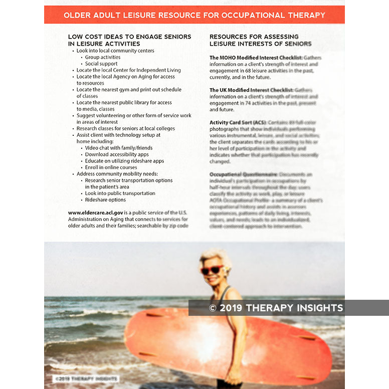 Leisure activity resources for older adults in occupational therapy - Therapy Insights - Therapy Fix