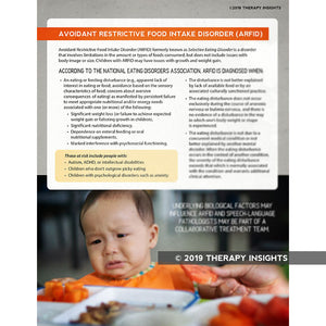 Avoidant Restrictive Food Intake Disorder - ARFID - Pediatric speech therapy - speech therapy materials for kids - feeding therapy - Therapy Insights - Therapy Fix