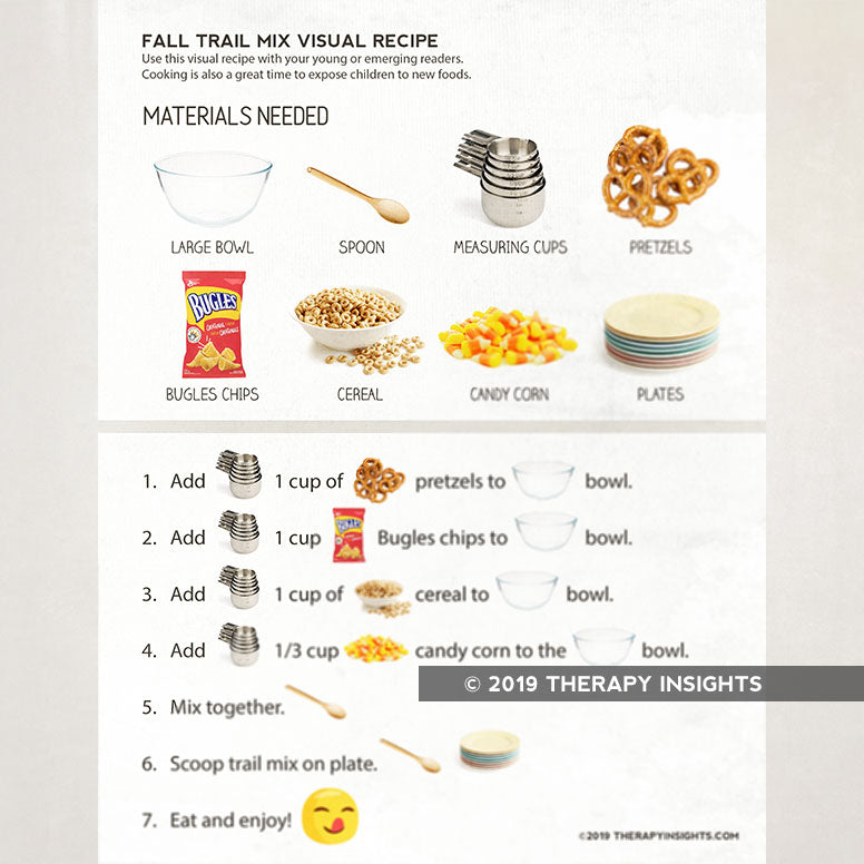 Fall trail mix visual recipe. Speech therapy for feeding, reading, following directions, and sequencing. Therapy Fix. Therapy Insights.